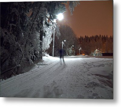 Metal Print featuring the photograph Night Skiing by Sami Tiainen