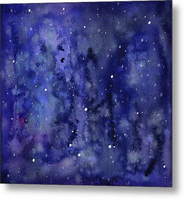 Night Sky Watercolor Galaxy Stars Metal Print by Olga Shvartsur