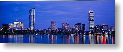 Night, Skyline, Back Bay, Boston Metal Print by Panoramic Images