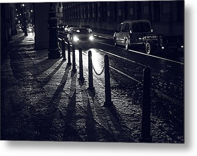 Metal Print featuring the photograph Night Street Of Prague by Jenny Rainbow