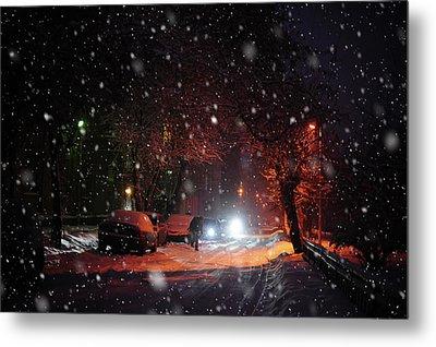 Night Street. Snowy Days In Moscow Metal Print by Jenny Rainbow