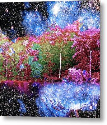 Night Trees Starry Lake Metal Print by Saundra Myles