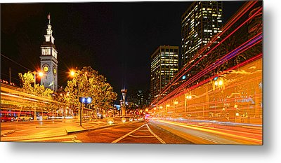 Metal Print featuring the photograph Night Trolley On Time by Steve Siri