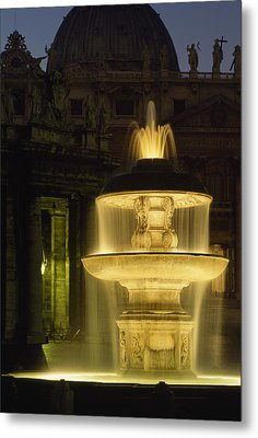 Night View Of A Fountain Outside Saint Metal Print by James L. Stanfield
