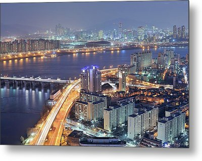 Night View Of Seoul Metal Print by Tokism