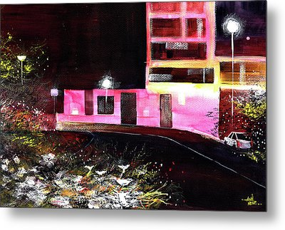 Metal Print featuring the painting Night Walk by Anil Nene