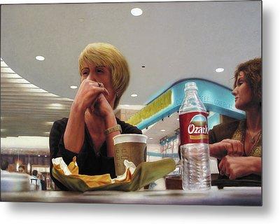Nighthawks At The Foodcourt Metal Print by James W Johnson