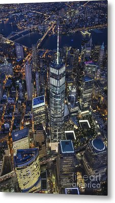 Nighttime Aerial View Of 1 Wtc Metal Print by Roman Kurywczak