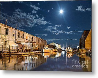 Nighttime On The Old Port Waterfront Metal Print by Benjamin Williamson