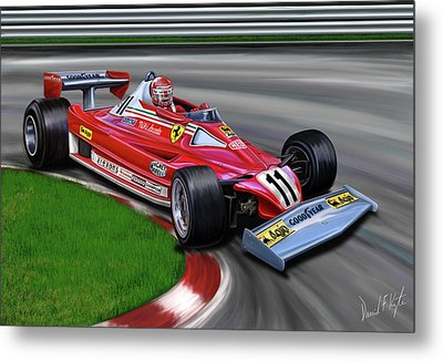 Niki Lauda F-1 Ferrari Metal Print by David Kyte