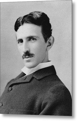 Nikola Tesla - Circa 1890 Metal Print by War Is Hell Store