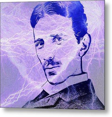 Nikola Tesla Electric Mind Metal Print