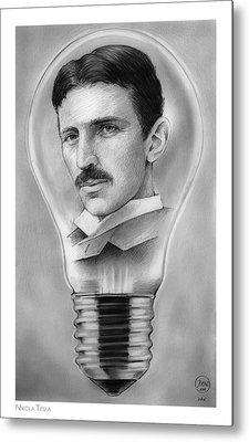 Nikola Tesla Metal Print by Greg Joens