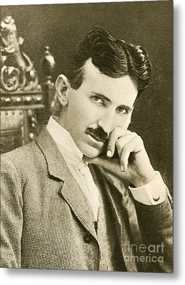 Nikola Tesla, Serbian-american Inventor Metal Print by Photo Researchers