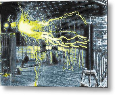 Nikola Tesla Sitting In His Experimental Station Reimagined 2 Metal Print by Tony Rubino