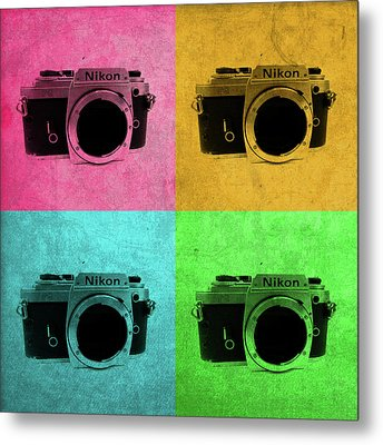 Nikon Camera Vintage Pop Art Metal Print by Design Turnpike