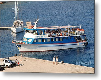 Nikos Express Ferry At Halki Metal Print