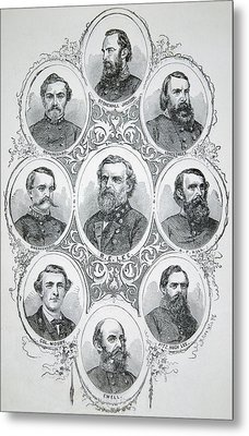 Nine Portraits Of Prominent Generals Of Confederate Army Metal Print
