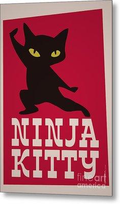 Ninja Kitty Retro Poster Metal Print by Monkey Crisis On Mars