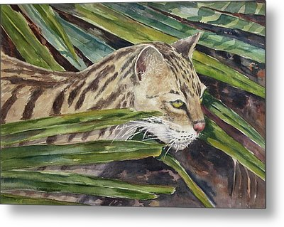 Metal Print featuring the painting Nirvana - Ocelot by Roxanne Tobaison