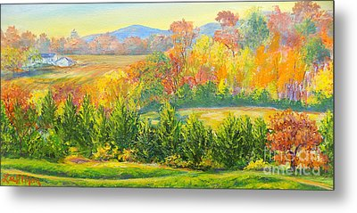Metal Print featuring the painting Nixon's Glorious View Of Autumn by Lee Nixon