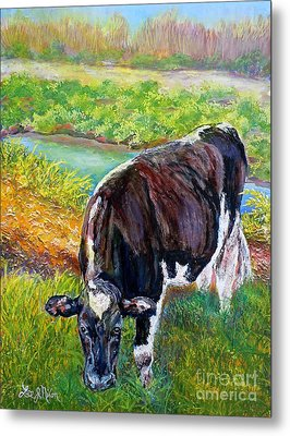 Metal Print featuring the painting Nixon's Grazing In The Sun by Lee Nixon