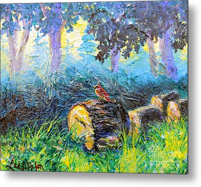 Metal Print featuring the painting Nixon's  Red Bird In The Forest by Lee Nixon