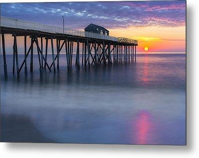 Nj Shore Pier Sunrise Metal Print