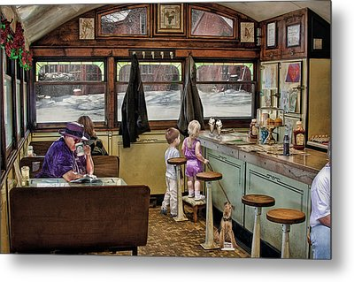 No Dogs Allowed Diner .... Metal Print
