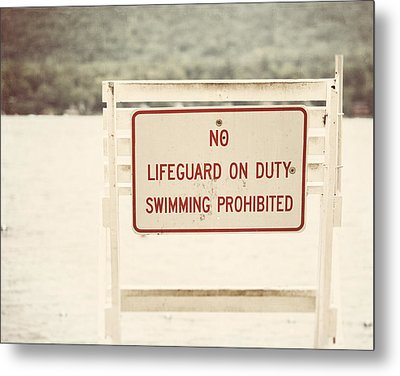 No Swimming Metal Print by Lisa Russo