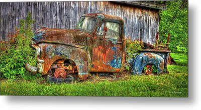 No Tires And Retired 1954 Gmc Stepside Pickup Truck Metal Print by Reid Callaway