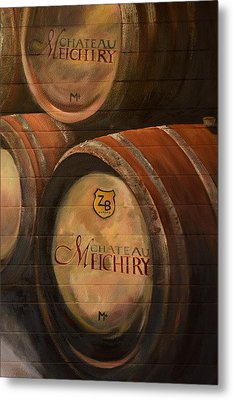 No Wine Before It's Time - Barrels-chateau Meichtry Metal Print