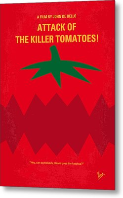 No499 My Attack Of The Killer Tomatoes Minimal Movie Poster Metal Print by Chungkong Art