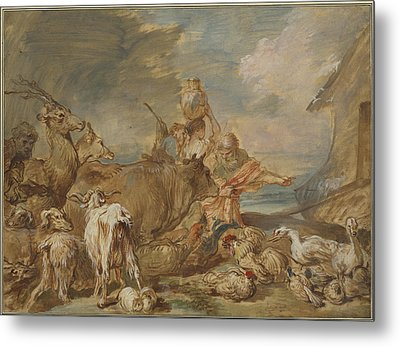 Noah Leading The Animals Into The Ark Metal Print