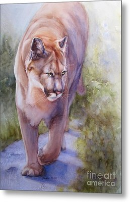 Metal Print featuring the painting Noble Cougar by Bonnie Rinier