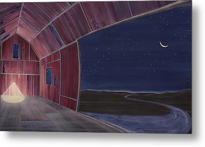 Metal Print featuring the painting Nocturnal Barnscape by Scott Kirby