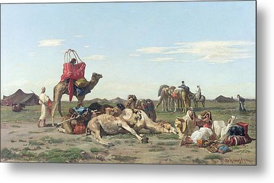Nomads In The Desert Metal Print by Georges Washington