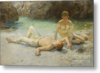 Noonday Heat Metal Print by Henry Scott Tuke