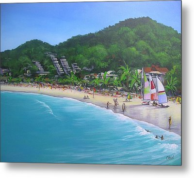 Metal Print featuring the painting Noosa Fun Acrylic Painting by Chris Hobel