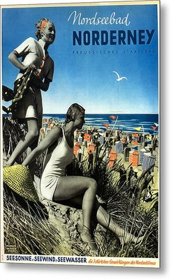 Norderney Vintage Collage Poster - Girls On A Beach Metal Print