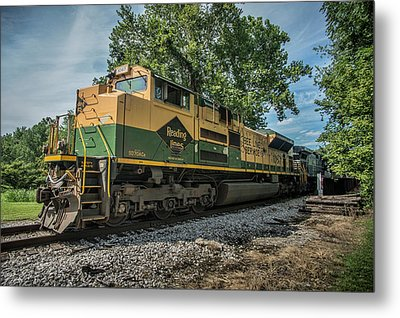 Norfolk Southern Ns 1067 At White River Bridge Petersburg In Metal Print by Jim Pearson