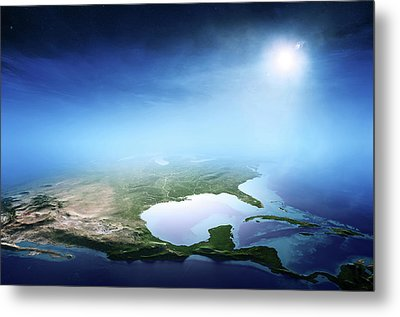 North America Sunrise Aerial View Metal Print by Johan Swanepoel
