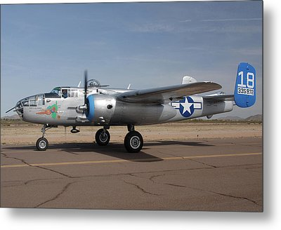 North American B-25j Mitchell Maid In The Shade N125az Casa Grande Airport Arizona March 5 2011 Metal Print by Brian Lockett