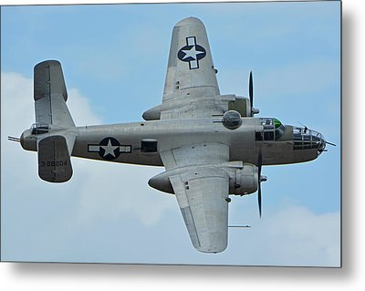Metal Print featuring the photograph North American B-25j Mitchell N9856c Pacific Princess Chino California April 30 2016 by Brian Lockett