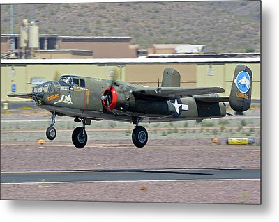 Metal Print featuring the photograph North American B-25j Mitchell Nl3476g Tondelayo Deer Valley Arizona April 13 2016 by Brian Lockett