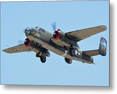 Metal Print featuring the photograph North American B-25j Mitchell Nl3476g Tondelayo Phoenix-mesa Gateway Airport Arizona April 15, 2016 by Brian Lockett
