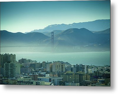 North Beach And Golden Gate Metal Print by Hal Bergman Photography
