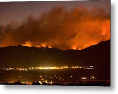 North Boulder Colorado Fire Above In The Hills Metal Print by James BO  Insogna