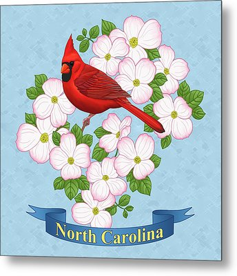 North Carolina State Bird And Flower Metal Print by Crista Forest