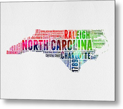 North Carolina Watercolor Word Cloud Map Metal Print by Naxart Studio